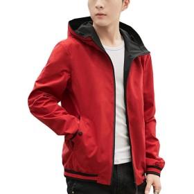 BeiBang(バイバン)ジャケット メンズ 長袖 アウター 切り替え ブルゾン ジャンパー 韓国ファッション ゆったり 着痩せ フード付け 春物(20レッド)