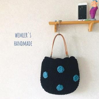 ブラックにターコイブルードットの毛糸手編みニットバッグ/大人かわいい/北欧