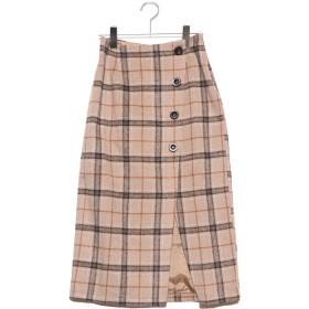 ジーラ GeeRA ラップ風チェック柄ナロースカート (ベージュ系)