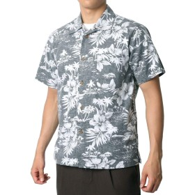 [ルーシャット] アロハシャツ コットン 裏使い 総柄プリントシャツ ブラック M