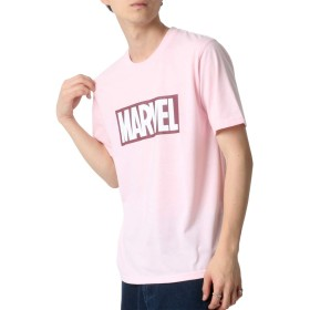 [マーベルコミック] Tシャツ ボックス ロゴ プリント 半袖 メンズ ピンク LL