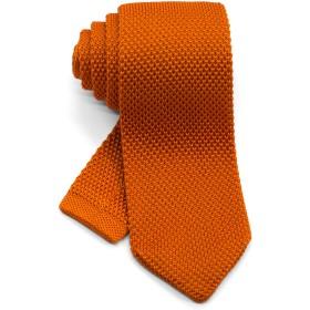 [ダブリューアンドエム] 7cm 幅 ニットタイ ニット ネクタイ 洗濯 可能 無地 ソリッド ポインテッド オレンジ 橙