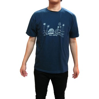 SPICE CLOTHING スパイス メンズ Tシャツ 半袖 [18122] 後染めプリントTシャツ スパイスクロッシング (L, ネイビー)