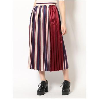 dazzlin マルチストライププリーツスカート(ネイビー)