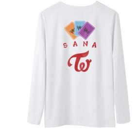 Fanstown kpop 韓流人気グループ TWICE ミニアルバム「YES or YES」の白い長袖Tシャツ+バッジ