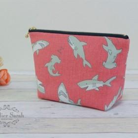 サメ柄のポーチ 18*ピンク