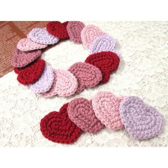 手編み 大人色コットンオリジナルハートモチーフ 4色セット