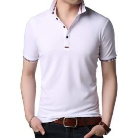 夏服 メンズ Tシャツ 半袖 ぽろシャツ メンズ ティシャツ 男性用 カットソー 無地 ポロシャツ 細身 ティーしゃつ 綿 ゆったり ステューシー トップス おしゃれ メンズファッション ホワイト 3XL