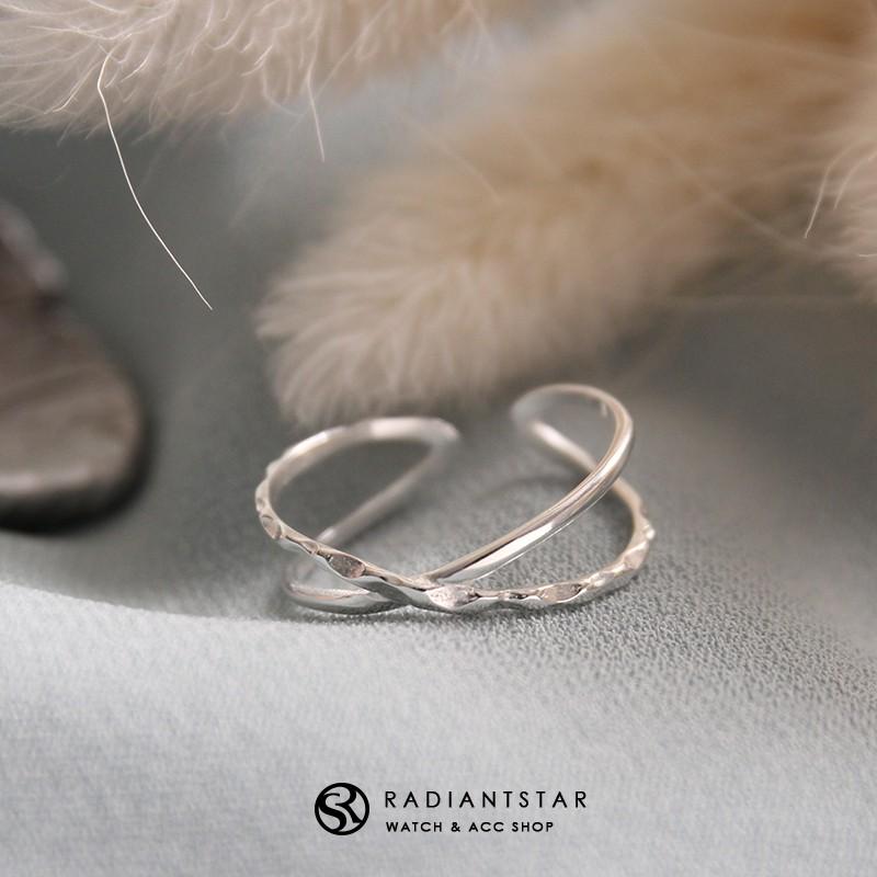 交錯的記憶交叉彎曲925純銀戒指【SL350】璀璨之星