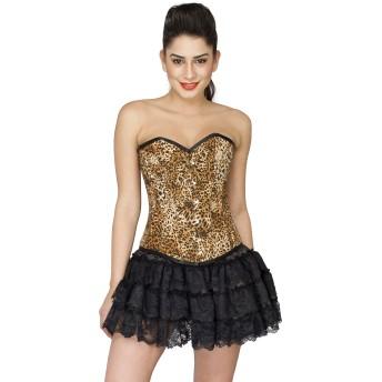 Leopard Print Poly Waist Training Gothic Overbust Black Tutu Skirt Corset Dress
