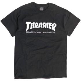 THRASHER Tシャツ スラッシャー マグロゴ 半袖Tシャツ メンズ スケートボードマガジンロゴ (ブラック, Lサイズ)