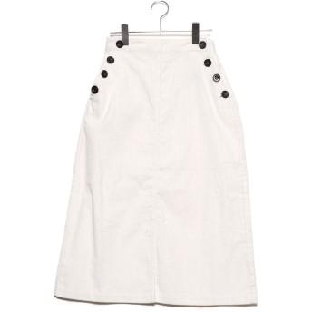 ジーラ GeeRA ボタンデザインコーデュロイスカート (ホワイト)