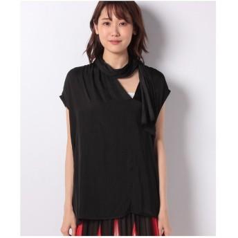 SISLEY サテンリボンタイフレンチシャツ・ブラウス(ブラック)【返品不可商品】