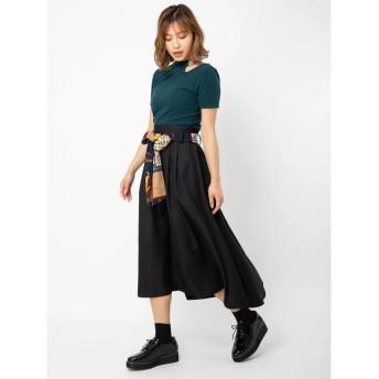 セシルマクビー CECIL McBEE スカーフベルト付きフレアスカート (ブラック)