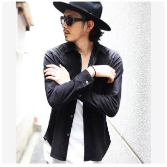 メンズビギ ジャージデニムウエスタンシャツ メンズ ブラック L 【Men's Bigi】