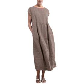 EnergyWD Women Pure Colour Sleeveless Linen Loose Big Pockets Maxi Long Dress Khaki XS