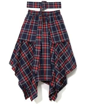 女性の秋ダークブルーロングスカートハイウエスト非対称スカートaラインチェック柄スカートとベルトフリーサイズ