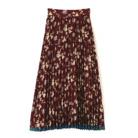 【公式/フリーズマート】レトロフラワー柄裾ラインプリーツスカート/女性/スカート/ボルドー×BEフラワー/サイズ:FR/