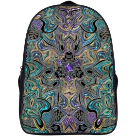 Blue Green Purple Gold Tapestry Mandala リュックサック バックパック 大容量 ビジネス カバン デイパック 通勤 通学 PC収納 男女兼用