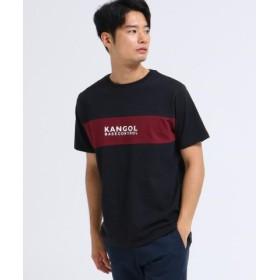 (BASE STATION/ベースステーション)◆KANGOL カンゴール 別注 クルーネック ロゴ 刺繍 Tシャツ/メンズ ブラック(019)
