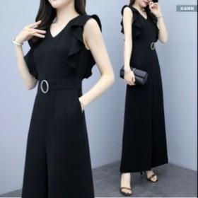 ノースリーブ ロングドレス 結婚式のパンツスタイル 大きいサイズ パンツドレス 大きいサイズ パンツドレス ドレス 黒 ブラック  ドレス