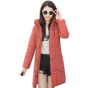 (グードコ) アウター レディース ダウンジャケット 防寒ジャケット ロング丈 ダウンコート 中綿 ポケット付き ライトダウン 軽量 多色展開 あったかい ワイン 暗紅色2XL
