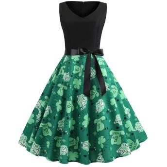 花柄 セクシー ワンピース チュニック YOKINO レディース ワンピース ドレス 花柄 膝丈 丸ネック ノースリーブ Aライン ワンピース チュニック
