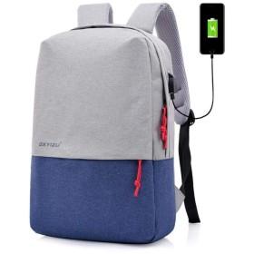 Caldo リュック メンズ 大容量 スクエア リュックサック ビジネスリュック 防水 バックパック USB充電ポート 大容量 軽量 通勤 通学 旅行 出張 (ブルー)