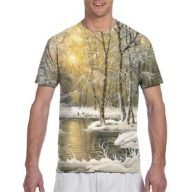 Longgongtongxin Tシャツ ポケT メンズ 半袖 綿100% 夏 行画格装画高清集47幅 (26) 創意デザイン ファション カジュアル おしゃれ 大きい サイズ ゆったり 男女兼用 トップス M