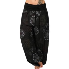 Sodossny-JP Women Flower Harem Pants Loose Casual Lounge Yoga Pants Plus Size Joggers Black S