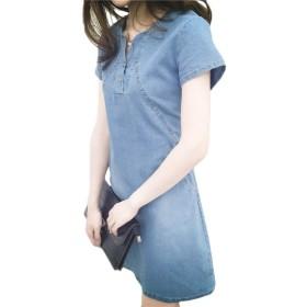 AGAING レディースデニムカジュアル春夏ドレスミディロング鉛筆ドレス Light Blue L