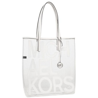 マイケルコース バッグ MICHAEL KORS 30S8S01T3P 085 THE MICHAEL BAG LG NS TOTE CLEAR PLASTIC レディース トートバッグ OPTIC WHITE 白