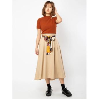 セシルマクビー CECIL McBEE スカーフベルト付きフレアスカート (ベージュ)