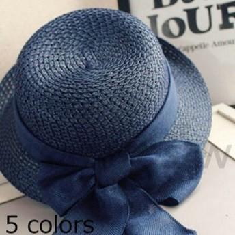 帽子 麦わら帽子 レディース ストローハットハット 帽子 女優帽 リボンつき 7色レディース つば広帽子 リボン UVカット 春夏 紫外紫外線