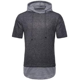 Romancly メンズトレンドシックソフトフード半袖スプライス因果関係Tシャツ Dark Grey XL