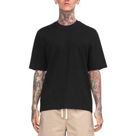 [ビヨンドユー] ビッグTシャツ メンズ 無地 Tシャツ 白 オーバー ビッグシルエット ドロップショルダー byd8200s-BLK-M