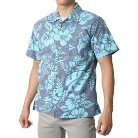 [ルーシャット] アロハシャツ コットン 裏使い 総柄プリントシャツ グリーンブルー M