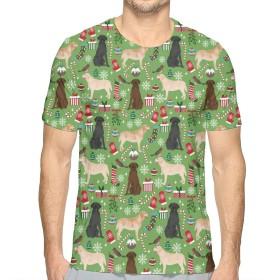ラブラドールレトリーバー犬犬クリスマス Tシャツ メンズ 半袖 汗染み防止 五分袖 柔らかい ファッション 快適な 速乾性 春夏着服