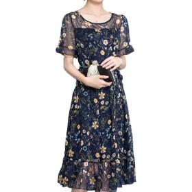夏の新しい大きなサイズの長い半袖花柄の単語スカートスリムプリントシフォンドレス女性 (L, パンジー)