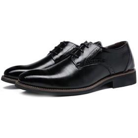 [inotenka] ビジネスシューズ メンズ 革靴 シークレットシューズ レザーシューズ 紳士靴 ドレスシューズ レザー 外羽根式 ストレートチップ Vチップ 037-whxy-2508(29.0cm ブラック)