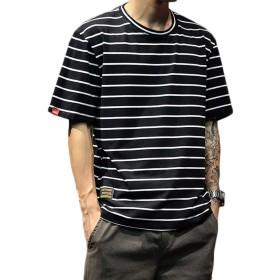 (シンイ Xin Yi Tシャツ 夏服 半袖 メンズ シャツ ストライプ トップス M-5XL 大きいサイズ 薄手 丸襟 おしゃれ シンプル