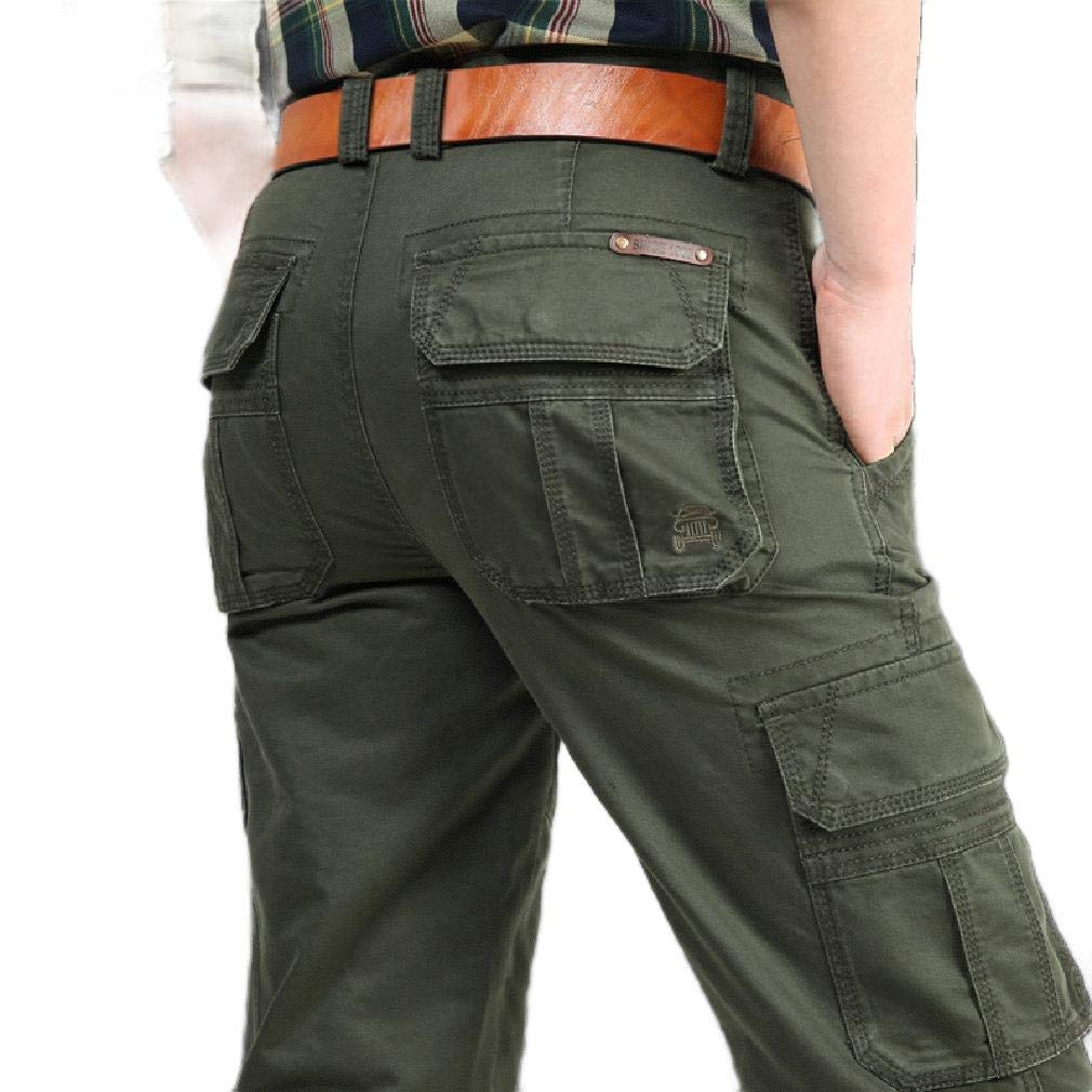 YUNY Men Casual Solid Multi-Pockets Straight Tactical Combat Pants Army Green 27