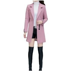 Kankanluck 女性の厚いウールのスキニーブレザー純粋なジャケットのトレンチコートのアウトウェア Pink XL