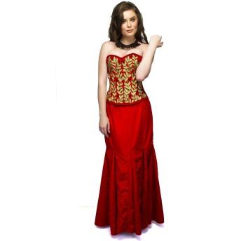Red Velvet Embroidery Gothic Burlesque Waist Cincher Bustier Overbust Corset Top