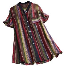 Akane ファッション カラフル ポケット おしゃれ レディース ゆったり カジュアル 半袖 プリント トップス Tシャツ (3色)