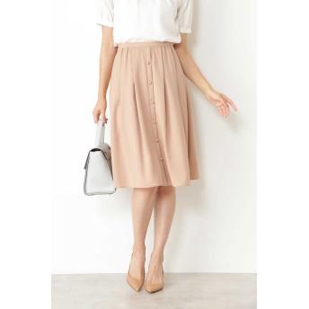 NATURAL BEAUTY ◆[ウォッシャブル]ポリエステルツイルフロントボタンタックフレアースカート ひざ丈スカート,ピンク