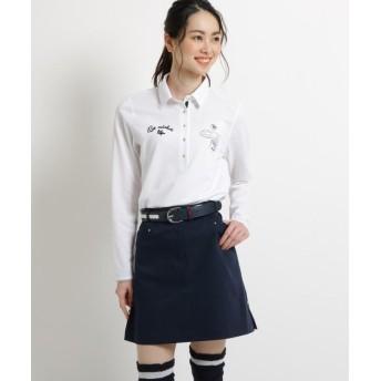 アダバット ストライプ長袖ポロシャツ レディース ホワイト(001) 36(S) 【adabat】