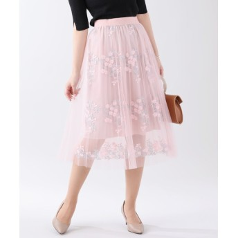 ブルーイースト フラワー刺繍プリーツチュールスカート レディース ピンク M 【BLUEEAST】