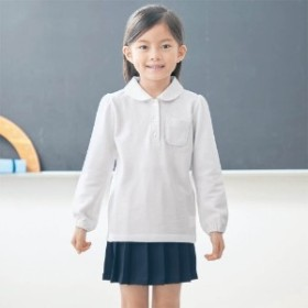 ガールズ長袖ポロシャツ【子供服】【幼稚園 小学生】【女の子 男の子】