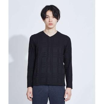 アバハウス チェックジャガード VネックロングTシャツ メンズ ブラック 48 【ABAHOUSE】
